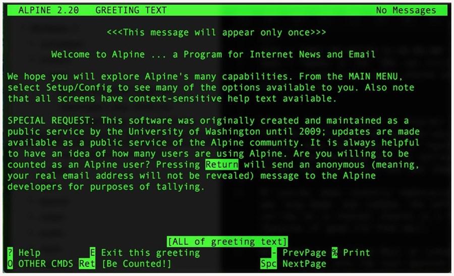 Alpine 2.20 welcome screen