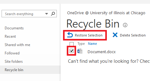recycle bin screen with Restore Selection button and checkbox for type of document