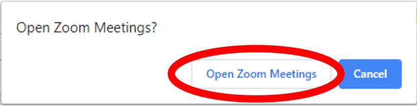 open zoom meetings screen highlighting button to open zoom meetings