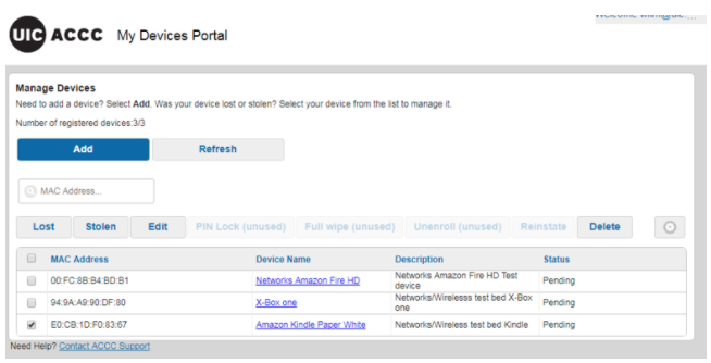 manage devices portal screen