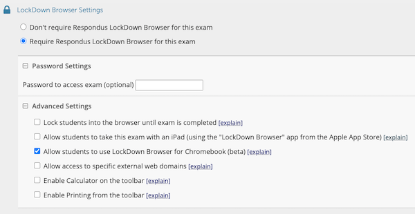 Lockdown Browser Settings screen showing the options