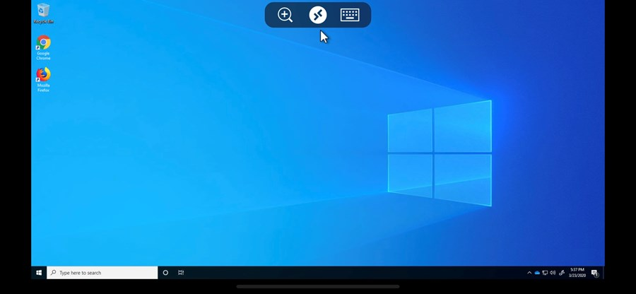 Screen showing three icons in the middle at the top edge of the screen. The remote desktop button is in the middle