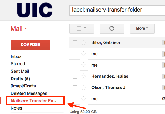 view of new mail transfer folder location in mail