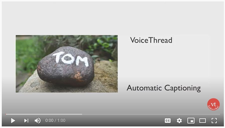 video screen of youtube instructional video about Voice Thread Automatic Captioning