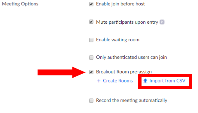 Meeting options with Breakout Room pre-assign checked. Import from CSV below Breakout Room pre-assign is highlighted.