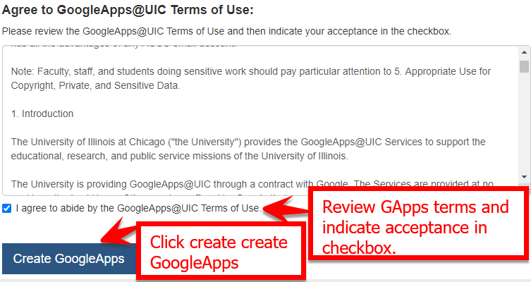 Google Apps terms of use screen