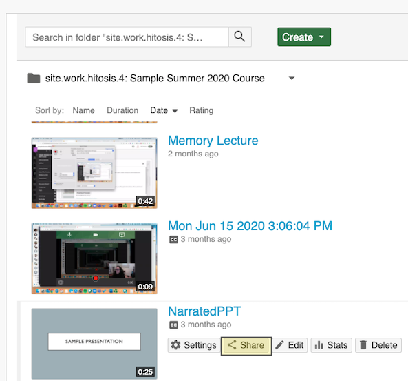example Panopto video list screen highlighting the share button when hovering over video