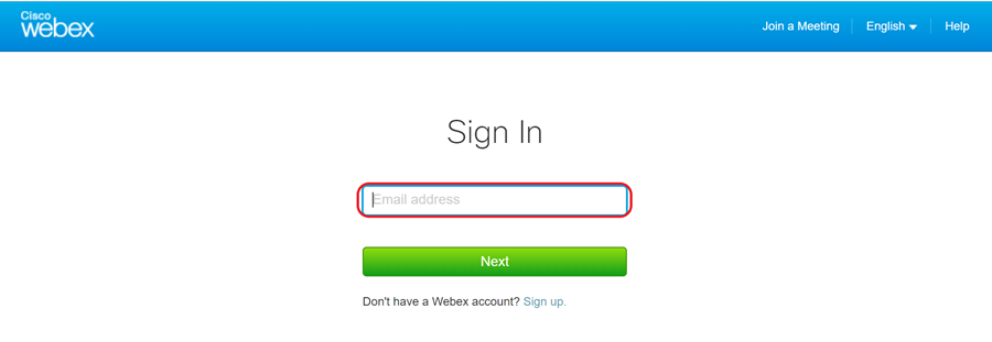 example sign in screen