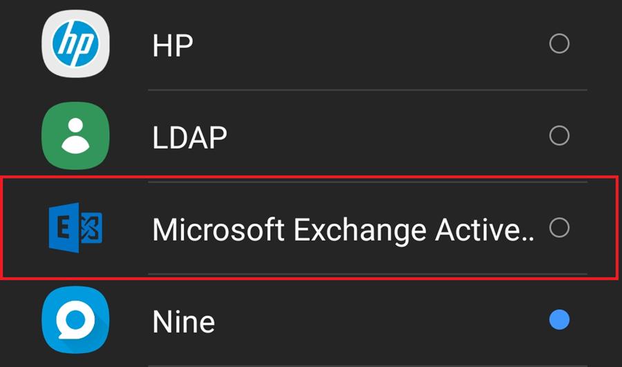 Click Microsoft Exhcange Activesync