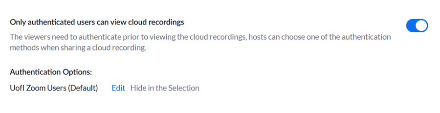 View of option to limit access to cloud recordings to only authenticated users