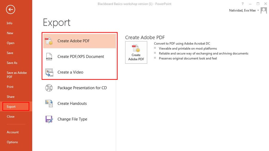 PowerPoint export screen highlighting create adobe PDF section with create PDF/XPS Document and Create a Video options