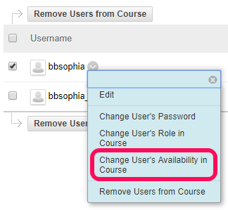 Change User availability