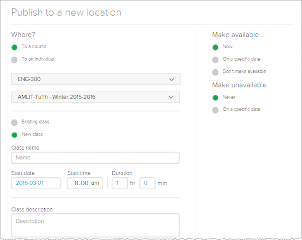 Publish to a new location screen