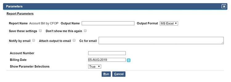 example parameters screen