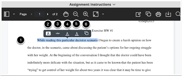 Annotated document highlight