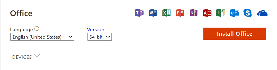 example office app selection and install screen