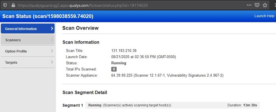 example scan status page