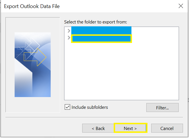 example screen for selecting location of folder