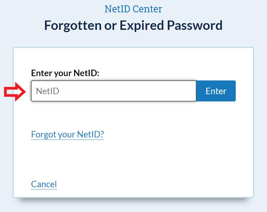 Net I D center forgotten or expired password screen