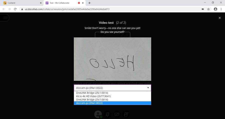 Screenshot of Blackboard Video test