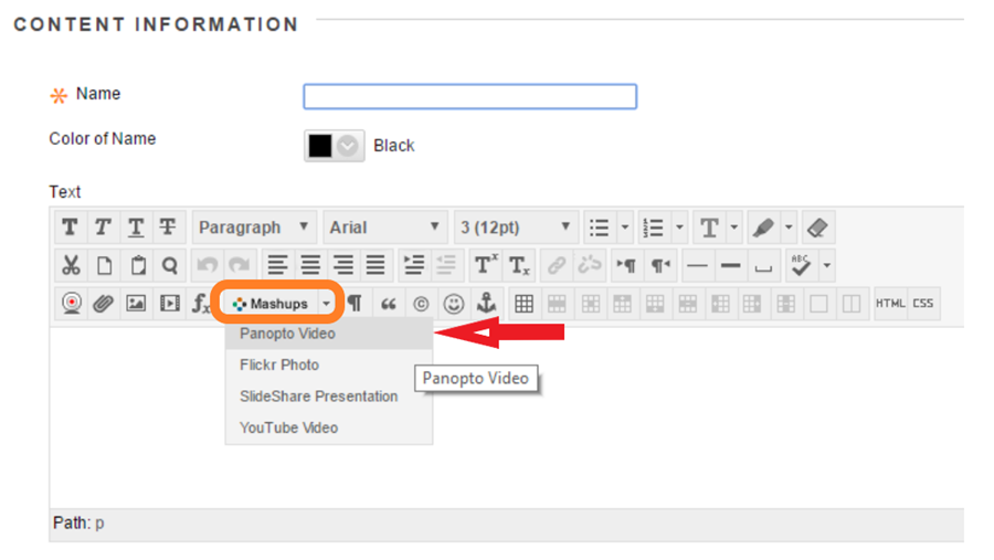 Content Information screen highlighting Mashups option in the text options