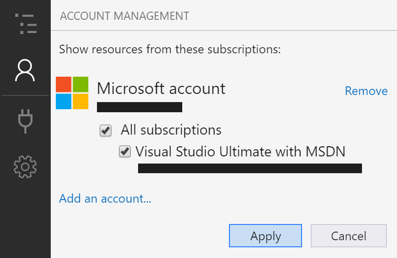 account management screen highlighting apply button