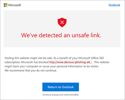 example unsafe link warning screen