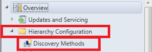 find hierarchy folder and discovery methods option