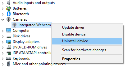 uninstall device button