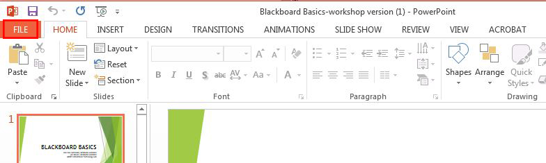 power point screen highlighting the file button in the navigation and the specific file in the list of files