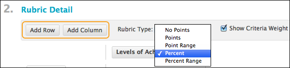 Rubric Detail screen highlighting buttons for Add Row and Add Column as well as dropdown menu of typeform options