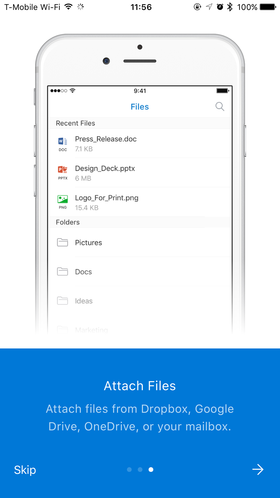 Files screen with listing of files and folders and Attach Files directions