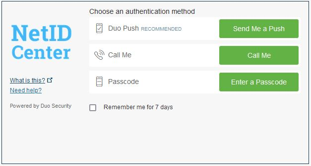 Duo two factor authentication prompt