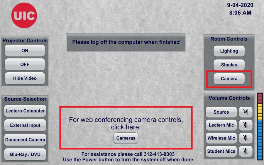 Screenshot of Lectern PC touch screen