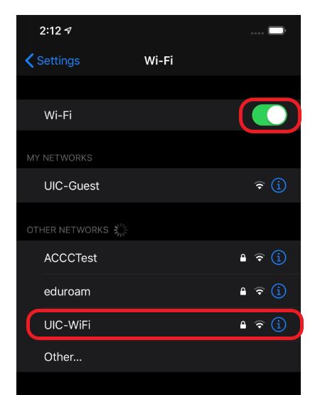 where to find U I C wifi on screen