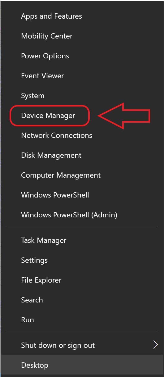 where to find device manager in menu