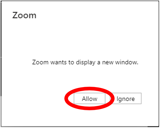 zoom screen to allow or ignore zoom wants to display a new window