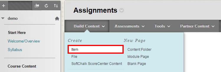 example assignments screen showing build content tab and highlighting the Item field