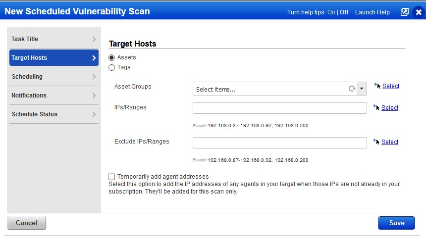 example target hosts screen