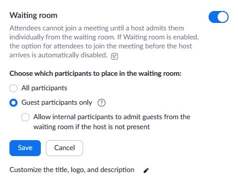 waiting room option screen