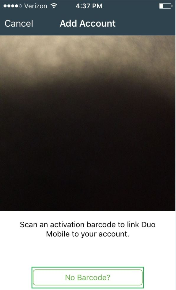 Image of mobile phone screen displaying No Barcode