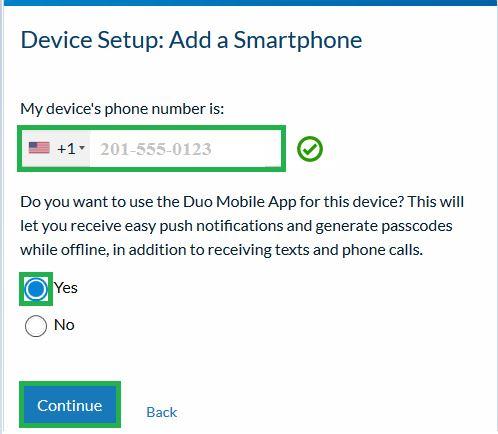 Device Setup:  Add a Smartphone