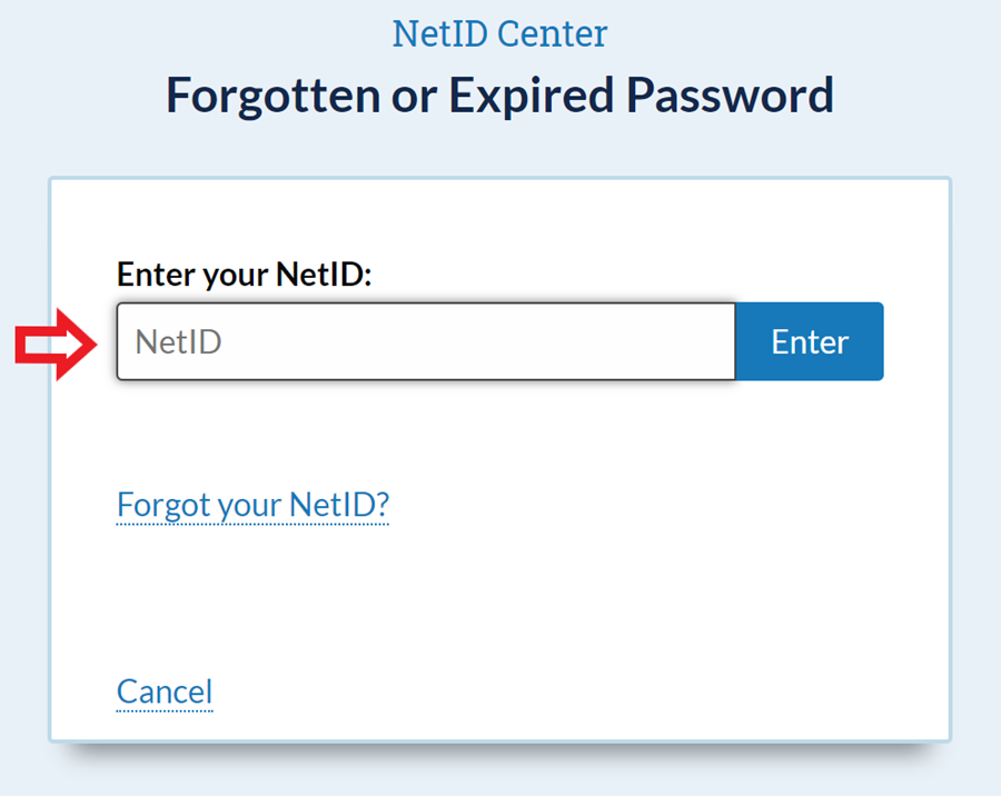 Forgotten or Expired Password screen