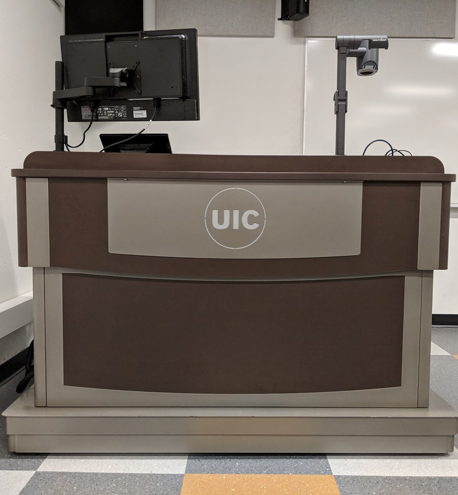 front view of a similar lectern with a monitor and document camera