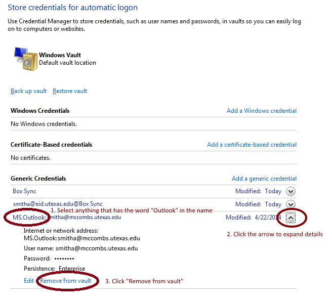 store credentials screen