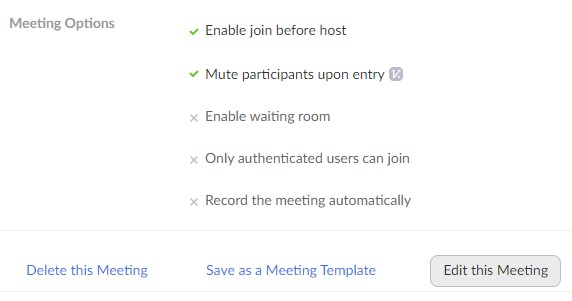 Screen with Edit this Meeting button