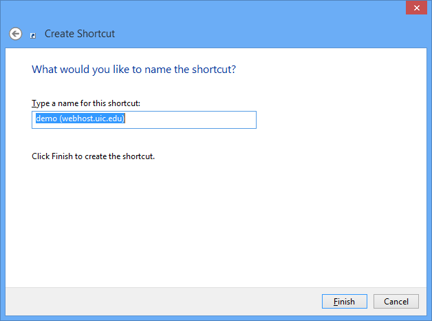 name the shortcut screen