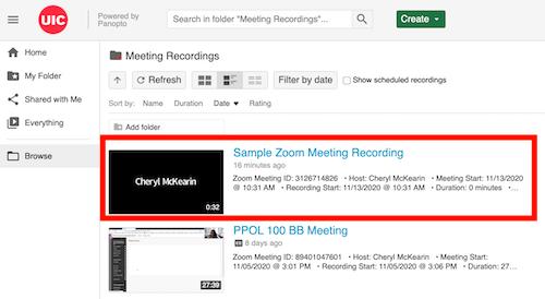 See Meeting Recordings