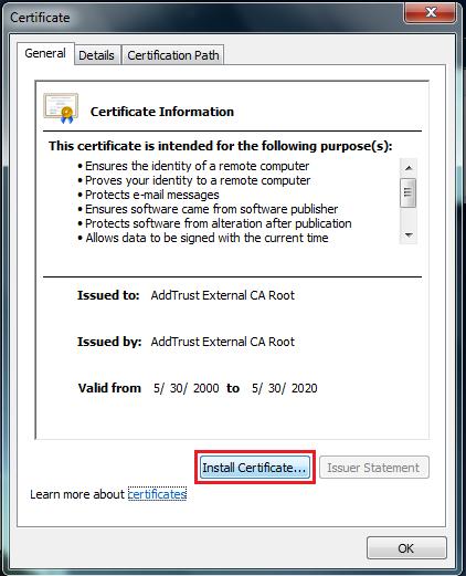 certificate information screen