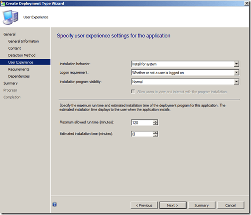 example user experience screen